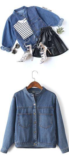 Grunge fashion. Stand Collar Denim Jacket With Pockets from shein.com.