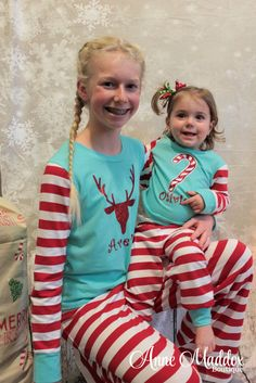 b50e511b1f Personalized Mint and Candy Cane Personalized Christmas Pajamas