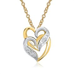 585er Gelbgold-Kette Herzen mit 2 Diamanten 0,02 ct.https://www.thejewellershop.com #gold #kette #herzen #diamanten #diamonds #chain #necklace #jewelry #schmuck #gelbgold #anhänger