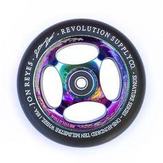 Revolution Jon Reyes Signature Series Wheel Neochrome, - Revolution Supply Co, Bakerized Action Sports - 2 Pro Stunt Scooters, Revolution Series, Scooter Wheels, Champions Of The World, Bmx Bikes, Bmw Logo, Stunts, Skates, Skateboards