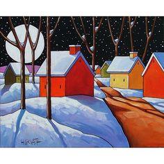 ORIGINAL Painting Folk Art Winter Snow Night by SoloWorkStudio