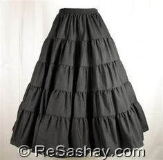 $36 Prairie Skirt, Malco Modes, 1005, 5 tiers, full and ruffled, New, Various Sizes and Colors
