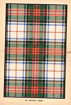 "Johnston's Scottish Tartans - ""STEWART - DRESS"" - Chromolithograph - c1899"