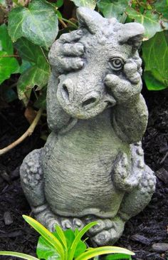 Dragon   U0027Peek A Boou0027 Statue   Cast Stone   Garden Decor