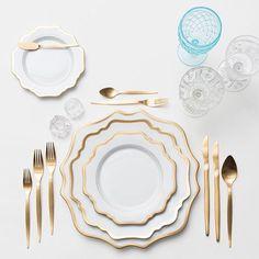 Anna Weatherley Chargers + Dinnerware in White + Celeste Flatware in Gold + Vintage Aqua/EAPG/Coupe Glassware Trios + Antique Salt Cellars   Casa de Perrin Design Presentation