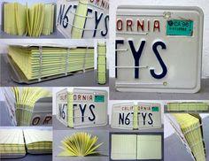 California license plate turned book coptic bookbinding