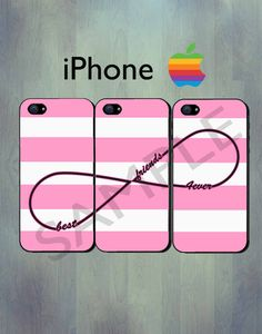 Friends Forever Infinity Pink Stripe iPhone case - iPhone 4 case or iPhone 5 case - iPhone Case, Three Case Set