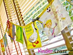 DID THIS Spring of 2014:: banner made from children's book jackets - DIY tutorial