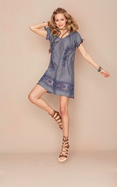 Keppi Smocked Chambray Dress.