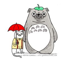 totoro | by Gemma Correll. pug. cat with umbrella. illustration. kawaii.