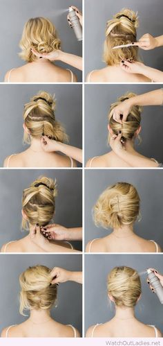 Simple short hair updo tutorial More