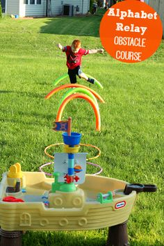 Preschoolers will learn the alphabet while running through an obstacle course! Lots of fun for summer!