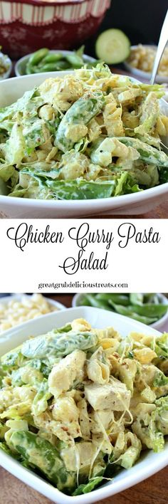 Chicken Curry Pasta Salad - A delicious tasting salad that is crunchy, crispy, and full of amazing flavor! This will surely be a huge hit!