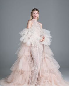 Paolo Sebastian fuses established style staples with a contemporary edge, creating unique handmade garments that infatuate those with a truly romantic heart. Blush Gown, Blush Dresses, Flower Girl Dresses, Bridesmaid Dresses, Lace Dresses, Dress Dior, Blue Floral Maxi Dress, White Maxi, Green Wedding Dresses