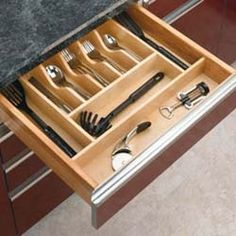 Rev-A-Shelf in. W x 22 in. D Large Cabinet Drawer Wood Cutlery Tray Insert Rev-A-Shelf in. W x 22 in. D Large Cabinet Drawer Wood Cutlery Tray Insert, Light Brown Wood Cutlery Drawer Insert, Wooden Drawer Organizer, Wooden Cutlery Tray, Kitchen Drawer Dividers, Kitchen Utensil Organization, Drawer Inserts, Kitchen Drawers, Drawer Organisers, Cabinet Drawers