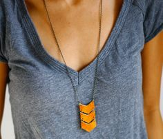 Leather Tan Triple chevron necklace