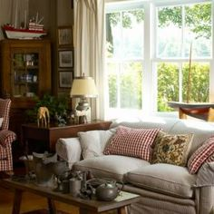 Country Style Living Room Ticking And Red Check Fabric Are Classic Choices  That Further The Cottage Aesthetic. Antique Furnishings, Casual Fabrics, ...