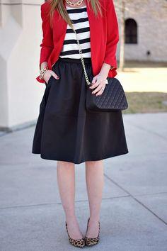 Full midi-skirt, stripes, red & animal print.