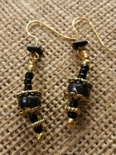 Black and Gold Crackle Beaded Dangle Earrings with Natural Jet $15