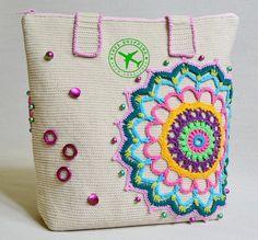 Summer tote bag. Mandala women's bag. Crochet bag. Unique handmade bag. Urban bag. Cotton bag. Casual bag. Yarn bag. Streetfashion bag.