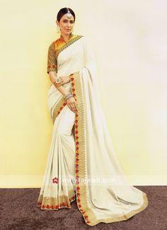 border work designer bollywood sarees in india Bollywood Designer Sarees, Bollywood Saree, Saree Wedding, Wedding Wear, Saree Blouse, Sari, Saree Trends, Work Sarees, Art Silk Sarees
