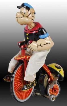 Lot # : 1328 - Linemar Mechanical Popeye Cyclist Toy.