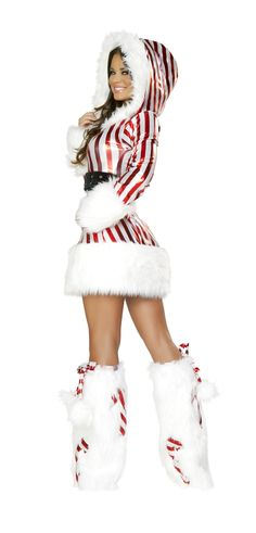 Candy Cane Hooded Dress, Christmas Costume for Women, J Valentine Christmas Outfits