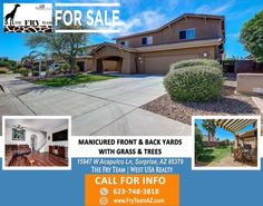 """MANICURED FRONT AND BACK YARDS WITH GRASS AND TREES"" 
