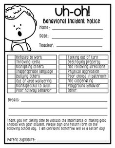 A great communicate tool when students make a poor choice. There are several different styles to choose from. Included is a reflections sheet that allows students to communicate what happened, why it happened, and what they will do differently next time. Classroom Behavior Management, Student Behavior, Behaviour Management, Behavior Sheet, Class Management, Classroom Behavior Chart, Behavior Plans, 2nd Grade Classroom, New Classroom