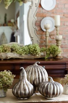 gorgeous centerpiece is from Birch Lane. These are called the Golden Pumpkin Trio and they are magnificent. They aren't quite mercury glass and are more like tarnished silver. I love their simplicity. Thanksgiving Decorations, Seasonal Decor, Halloween Decorations, Holiday Decor, Holiday Ideas, Autumn Decorating, Pumpkin Decorating, Decorating Ideas, Fall Home Decor