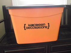 Ready to take down all of the ghouls & goblins for another Halloween gone by? Plastic tubs and vinyl decals…voila! Bill Organization, Home Organization Hacks, Organizing Ideas, Storage Tubs, Storage Boxes, Storage Ideas, Clean All The Things, Random Things, Halloween 2
