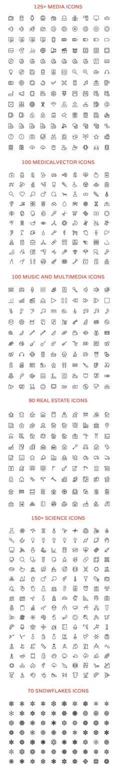 2800+ Line #Vector #Icons Bundle by Creative Stall http://crtv.mk/u3U9