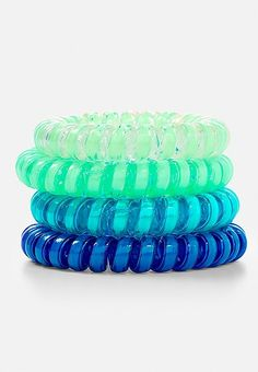 Glow in the Dark Spiral Hair Ties - 4 Pack Yarn Bracelets, Hair Tie Bracelet, Claire's Accessories, Girls Hair Accessories, Coil Hair Ties, Scrunched Hair, Hair Rubber Bands, Hair Upstyles, Hair Jewelry