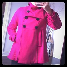 Beautiful hot pink coat  Beautiful hot pink coat  only worn twice Steve Madden Jackets & Coats