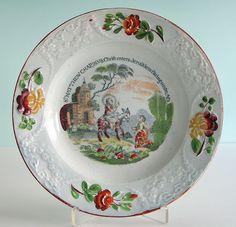 Staffordshire Pearlware ~ CHRIST IN JERUSALEM ~ Swansea Child's Plate c1820 NR #Americana #Staffordshire