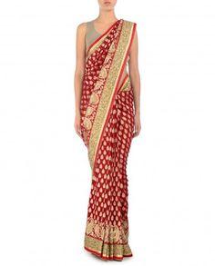 Red Sari with Embellished Golden Border