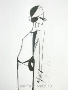 fashion sketch flapper | Fashion illustration 1920s Art Deco flapper by LinearFashions
