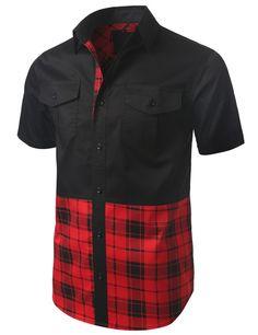 Plaid Trim Short Sleeve Button Down Shirt - Doublju #doublju #mensfashion #menswear