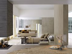 soft neutral living room | Molteni - chaise longue