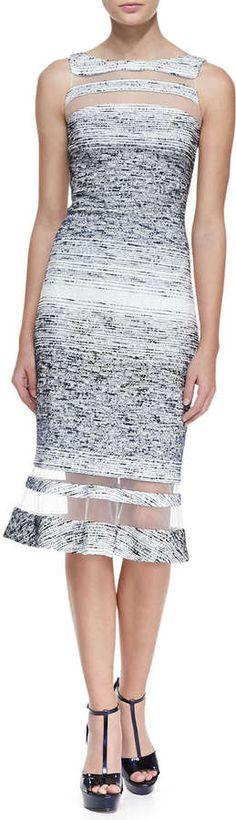 Badgley Mischka Collection Sleeveless Illusion Ring Dress, Navy/White