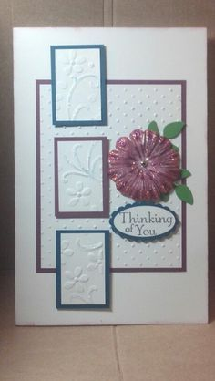 "Elegant Bouquet Embossing Folder, Paper Flower sponge painted with ink and colored Dazzling Details, leaves from Secret Garden Framelits, Thinking of You from Thoughts & Prayers 2 of 2 Stamp set, 1 3/4"" x 7/8"" Oval Punch & Scalloped Oval Punch.  This is a full size card - 5 1/2"" x 8 1/2""!"