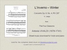 Vivaldi: Concerto RV 297 - Linverno : Largo) Sheet Music for: Trumpet in Bb and piano Includes: One score and one part pages) Price: USD