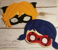 Miraculous Lady Bug Hero and Cat Noir, Pretend Play Masks, Handmade Mask, Dress Up, Costume Mask,  Birthday Party Favors, Christmas, Heros