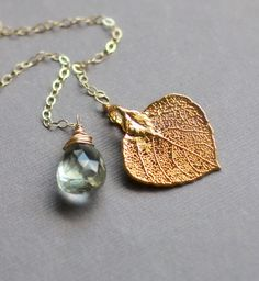 Lariat Necklace, Green Amethyst, Gold Leaf, Aspen Leaf and Gemstone, gold fill chain, Briolette, Real Leaf, Gold Dipped February Birthstone. $45.00, via Etsy.