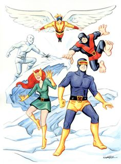 Silver Age X-men by Colleen Coover, featuring Angel, Iceman, Beast, Jean Grey, and Cyclops