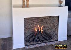 www.cosyflame.be incognito gesloten gashaard op maat , uitgemetst met verzaagde rode dakpannen , maat 85 x 108 cm , te bewonderen op batibouw2016