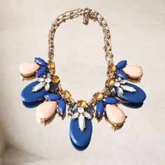 """Blue and pink statement necklace Adorable necklace perfect for any outfit, 18"""" with adjustable chain. J. Crew Jewelry Necklaces"""
