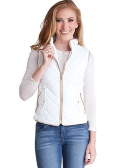 Quilted Padded Zipper Vest J1409W, clothing, clothes, womens clothing, jeans, tops, womens dress
