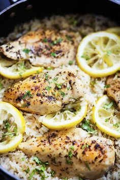 One Pot Lemon Herb Chicken & Rice - Buttery chicken and lemon herb rice all fixed in 30 minutes in one pot!(Whole Chicken Rice) Crockpot Recipes, Cooking Recipes, Healthy Recipes, Cooking Time, Healthy One Pot Meals, One Pan Meals, Healthy Eating Habits, Slow Cooker Recipes, Soup Recipes