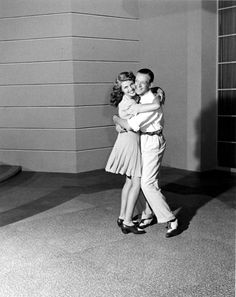 """freddie-my-love: """"Thought I'd brighten your day with this picture of Fred Astaire and Rita Hayworth hugging on the set of You Were Never Lovelier, 1942 """""""